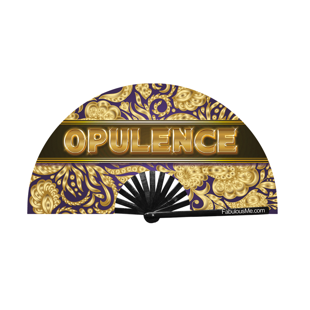 opulence bamboo circuit party uv glow hand fan by Fabulous Me fans for raves edm festivals fwap rupaul's drag race