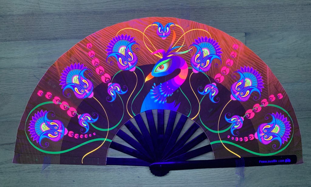 peacock circuit party uv glow hand fan by fabulous me, circuit fan, edm fan, rave fan by fabulousme.com , peacock fan
