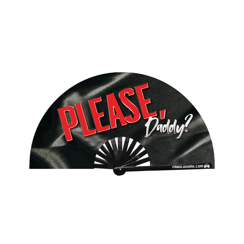Please Daddy Neon circuit party fan (can be used for circuit parties, raves, EDM festivals, parties, music festivals). Made with nylon fabric and bamboo ribs, made by FabulousMe fans.