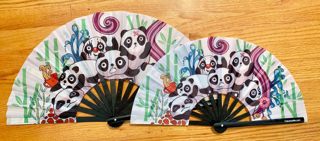 Plur Panda (pandamonium) circuit party mini fan (can be used for circuit parties, raves, EDM festivals, parties, music festivals). Made with nylon fabric and bamboo ribs, made by FabulousMe fans.