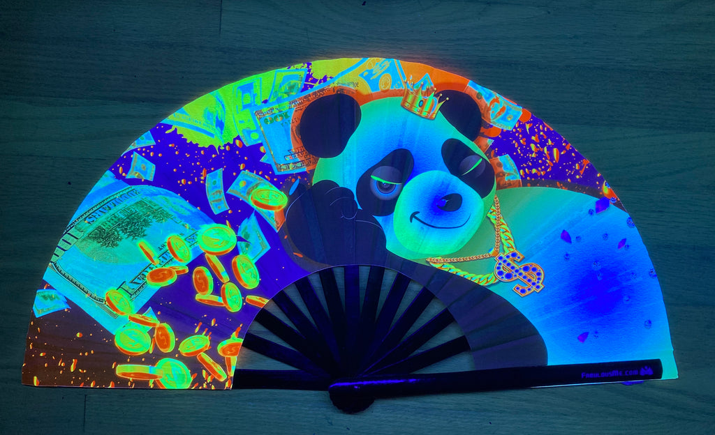 plur panda crazy rich panda circuit party uv glow bamboo hand fan by fabulous me
