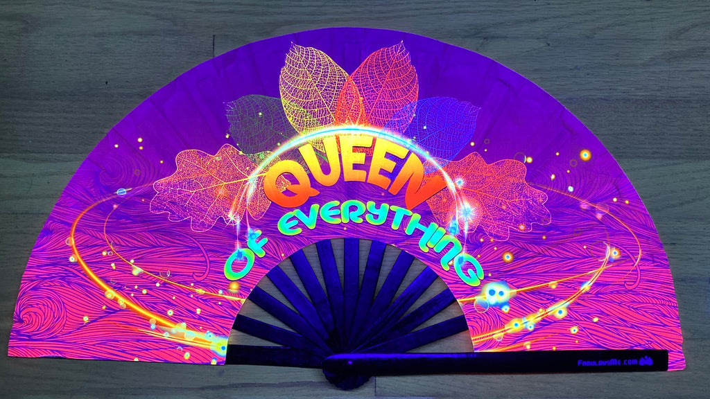 queen of everything circuit party uv glow bamboo hand fan by fabulous me