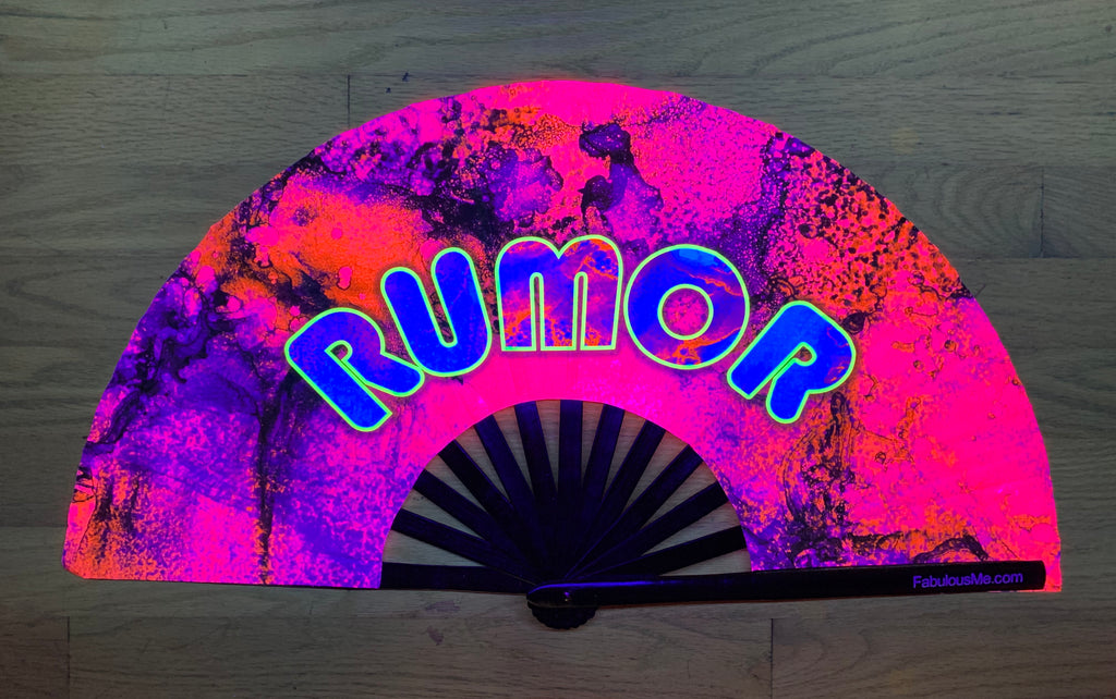 rumor circuit party uv glow hand fan by fabulous me, circuit fan, edm fan, rave fan by fabulousme.com , rumor fan