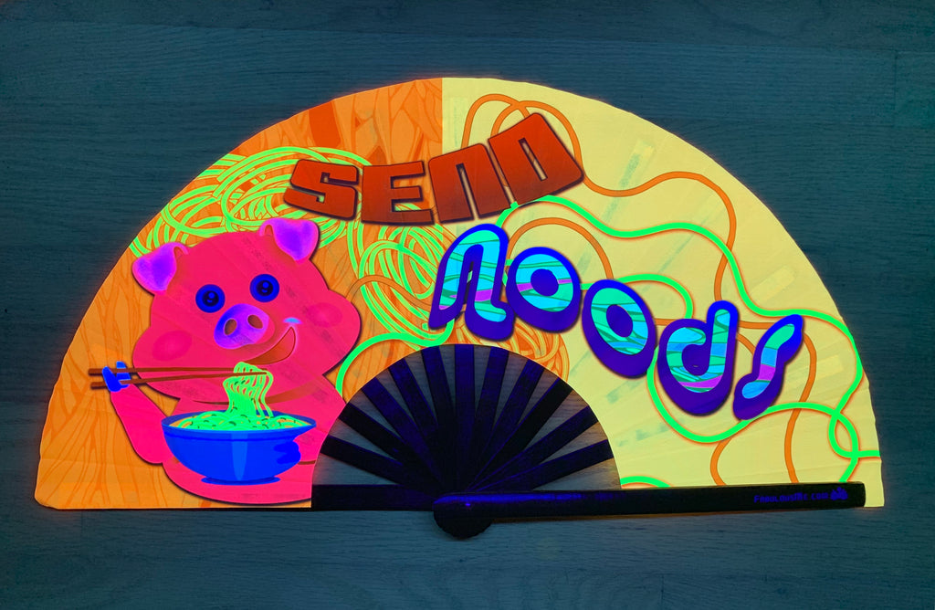 send noods circuit party uv glow hand fan by fabulous me