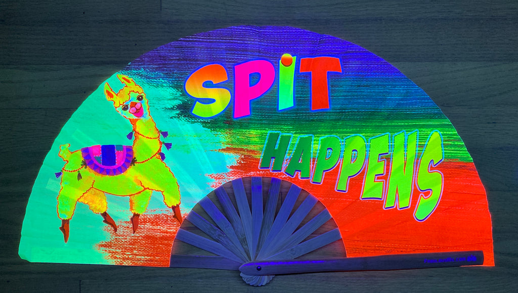 spit happens lama circuit party uv glow bamboo hand fan by fabulous me