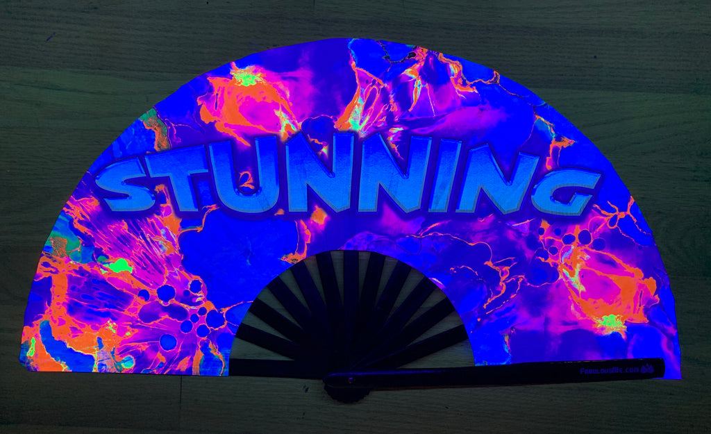 stunning circuit party uv glow hand fan by fabulous me, circuit fan, edm fan, rave fan by fabulousme.com ,stunning fan