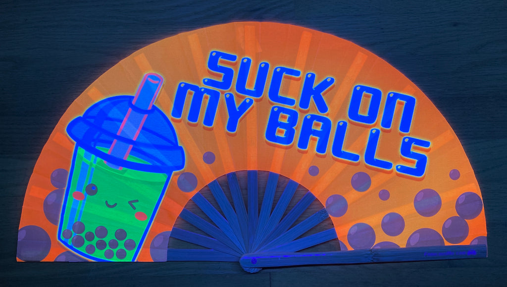 suck my balls circuit party uv glow bamboo hand fan by fabulous me
