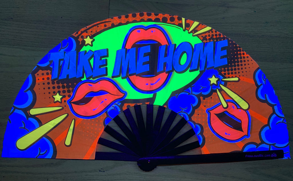 take me home circuit party uv glow hand fan by fabulous me, circuit fan, edm fan, rave fan by fabulousme.com ,stunning fan