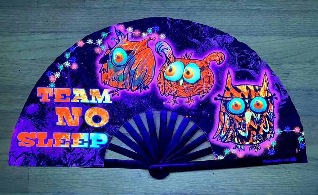 team no sleep circuit party uv glow bamboo hand fan by fabulous me