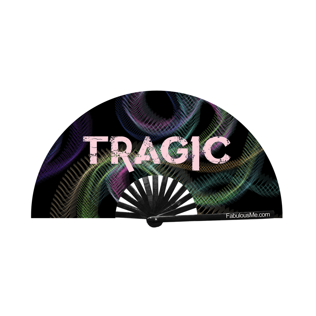 tragic circuit party uv glow bamboo hand fan by fabulous me fans mariah carey festival rave gear clack