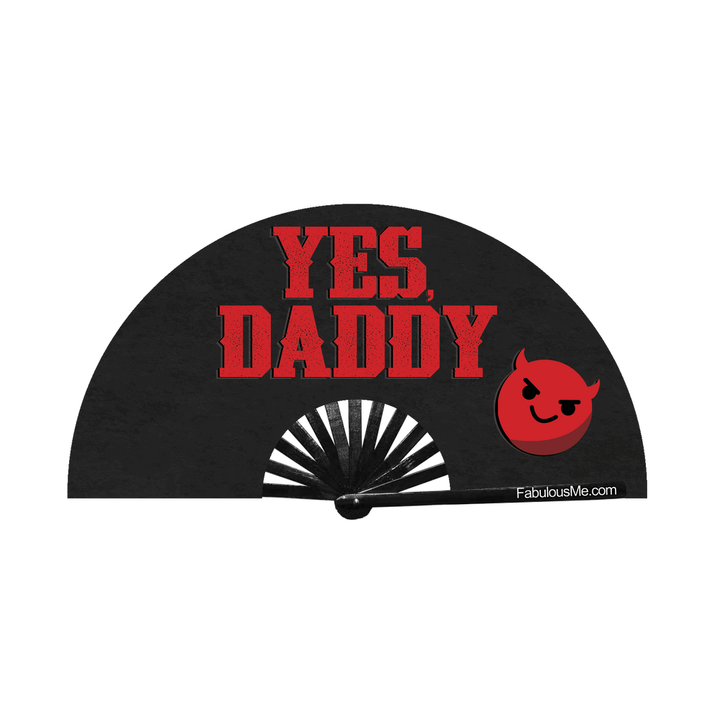 Yes Daddy (emoji) circuit party fan (can be used for circuit parties, raves, EDM festivals, parties, music festivals). Made with nylon fabric and bamboo ribs, fan also UV Glows  (UV Reactive) made by FabulousMe fans