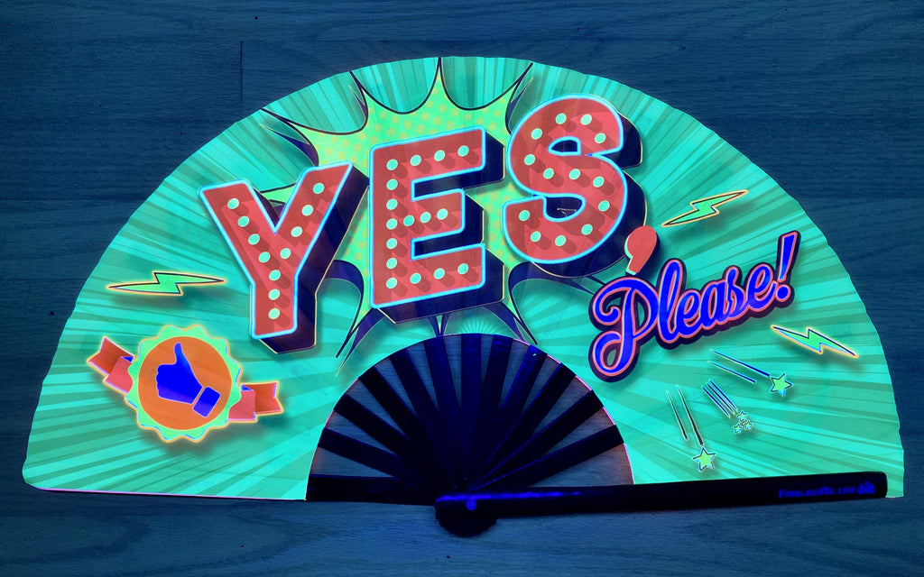 yes please circuit party uv glow bamboo hand fan by fabulous me