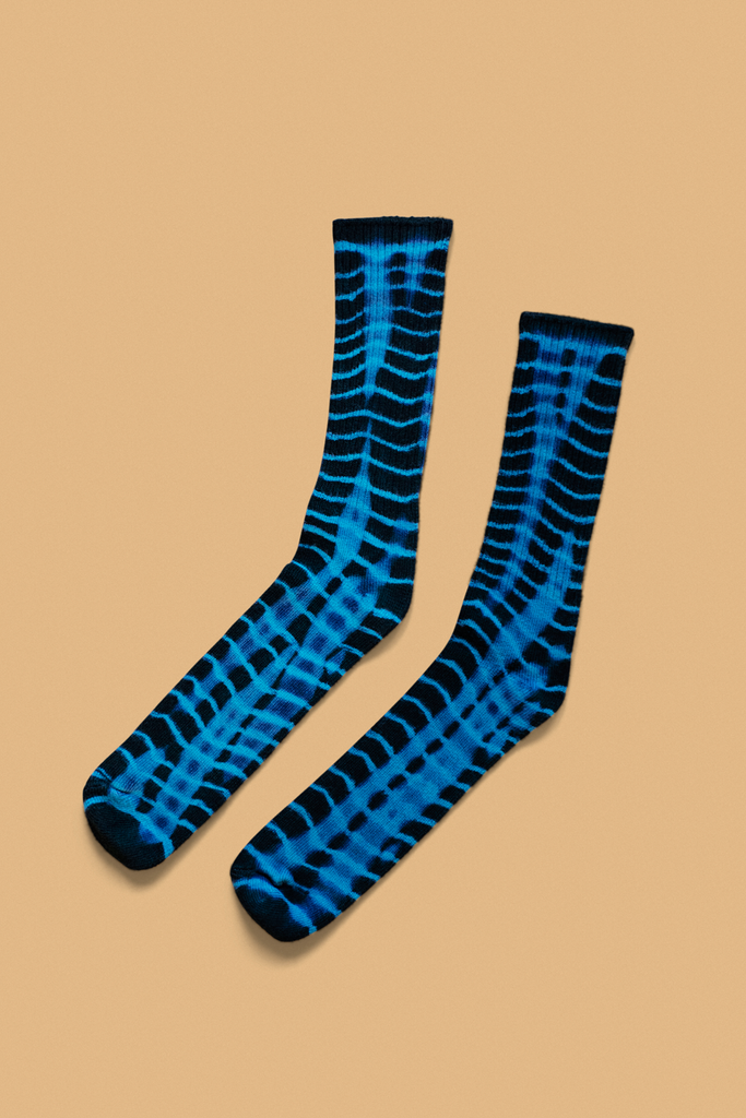 """Black & Blue"" Batik Socks"
