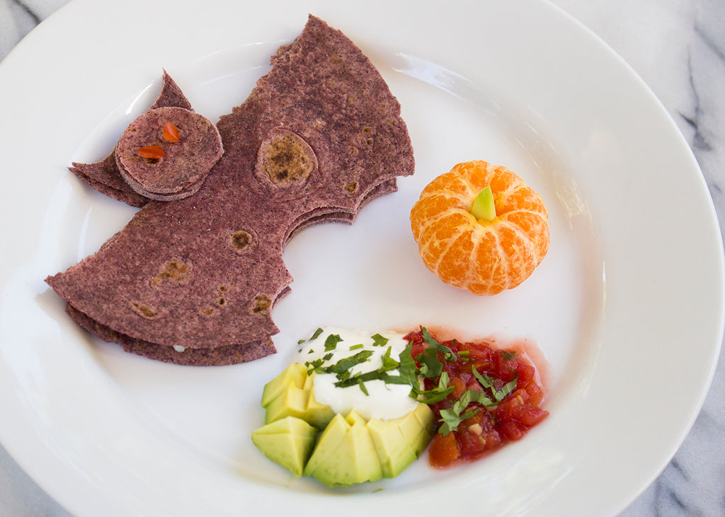 Healthy Halloween Lunch: Purple Corn Cheese Quesadilla Bat & Pumpkin Orange