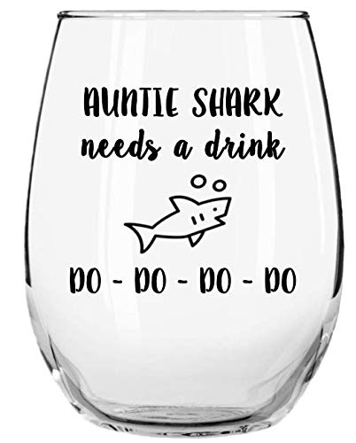Granny Shark Needs a Drink Do Do Do Do Funny Novelty Libbey Stemless Wine Glass with Sayings - Gifts for Grandmas - Birthday, Christmas, Mothers Day Gifts