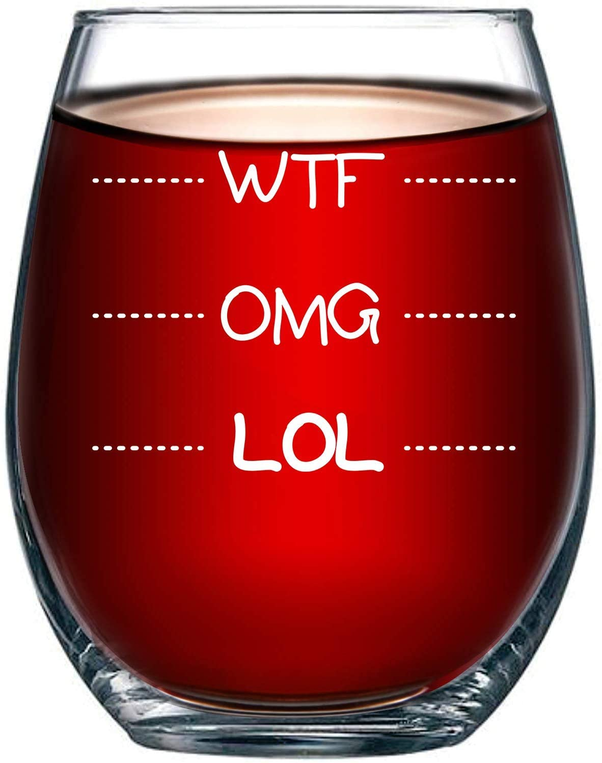 LOL-OMG-WTF Funny Wine Glass for Every Mood, Laugh Out Loud, Oh My God, What the F, Novelty Present 15oz
