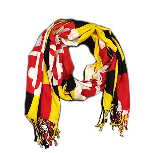 "Maryland Flag Viscose Pashmina Scarf Shawl with University of Maryland Colors 71"" x 27.5"" Round Hanger"