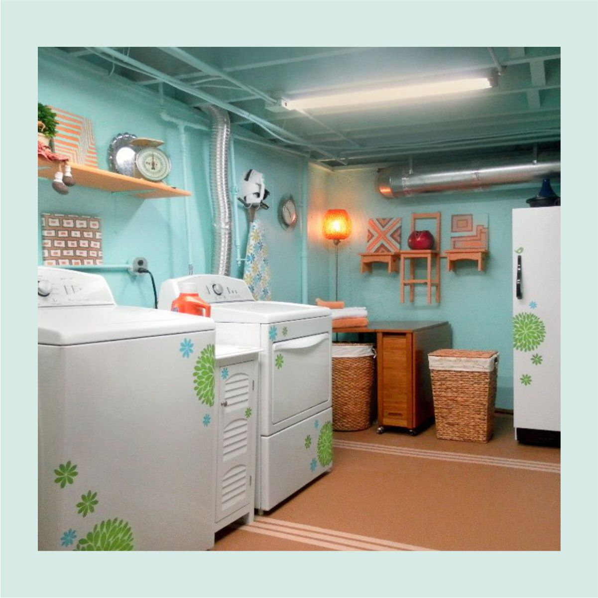 Even a Basement Laundry Can Be Bright and Cheery