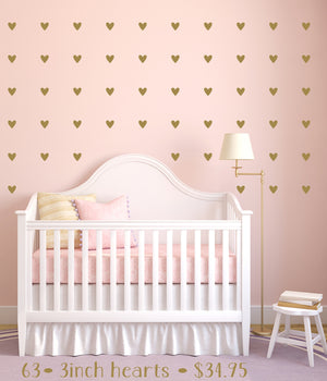 Heart Wall Decals | Gold Heart Decals | Peel & Stick Wall Decals | Nursery Decor