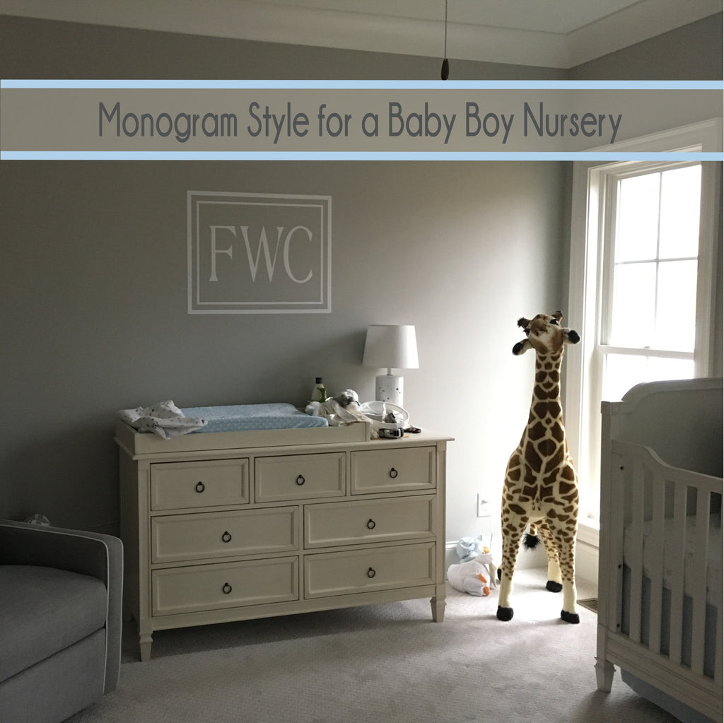 Monogram Wall Decal for the Baby Boy or Girl Nursery
