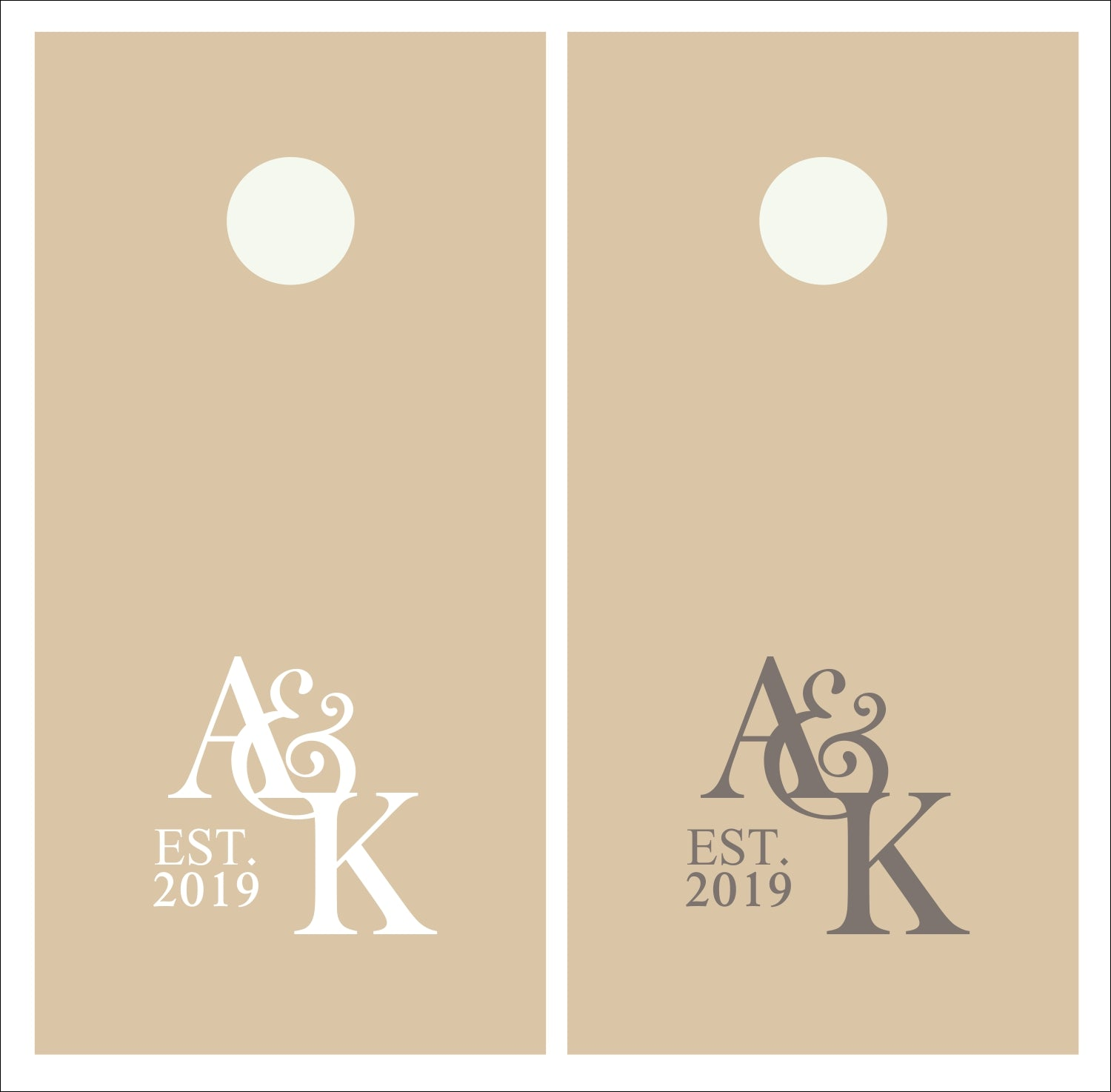 Bride & Groom Intertwined Wedding Initials Vinyl Decals - Set of TWO for Cornhole Game