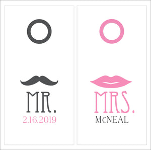 Mr. & Mrs. Decal Set | Mustache and Lips Vinyl Decal Set for Cornhole Game Boards | Wedding Decal Set