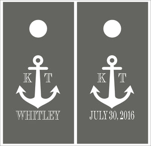 Personalized Wedding Anchor Vinyl Decal Set for Cornhole Boards | Nautical Wedding