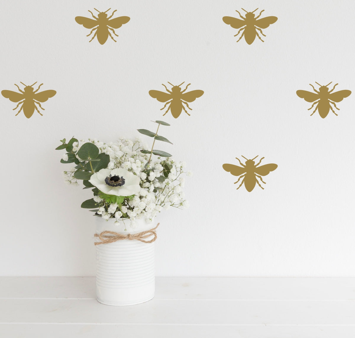 Bee Decor for Home | Gold Bee Decal | Bee Wall Decal Set | Bee Stickers
