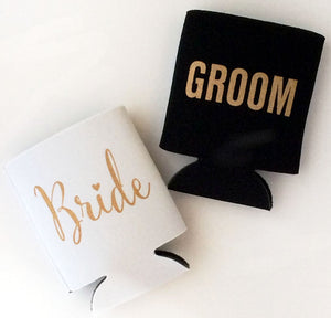 Bride and Groom Wedding Can Coolers | FREE SHIPPING