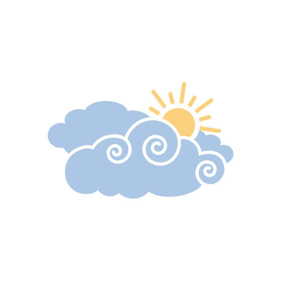 Cloud Decal | Whimsy Clouds with Sun Wall Decal Package for Nursery