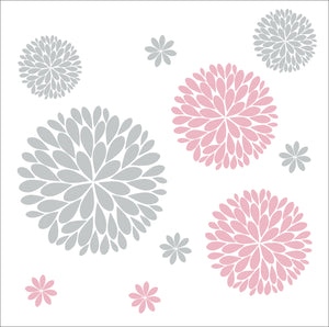 Flower Wall Decals | Another Bunch of Dahlia Flowers Vinyl Wall Decal