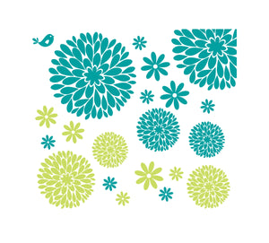 Flower Wall Decals | Girl Wall Decals | Nursery Decals | Daisy and Dahlia Flower Decals