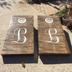Monogram Decals for Cornhole Game Boards | Rustic Country Wedding Decor