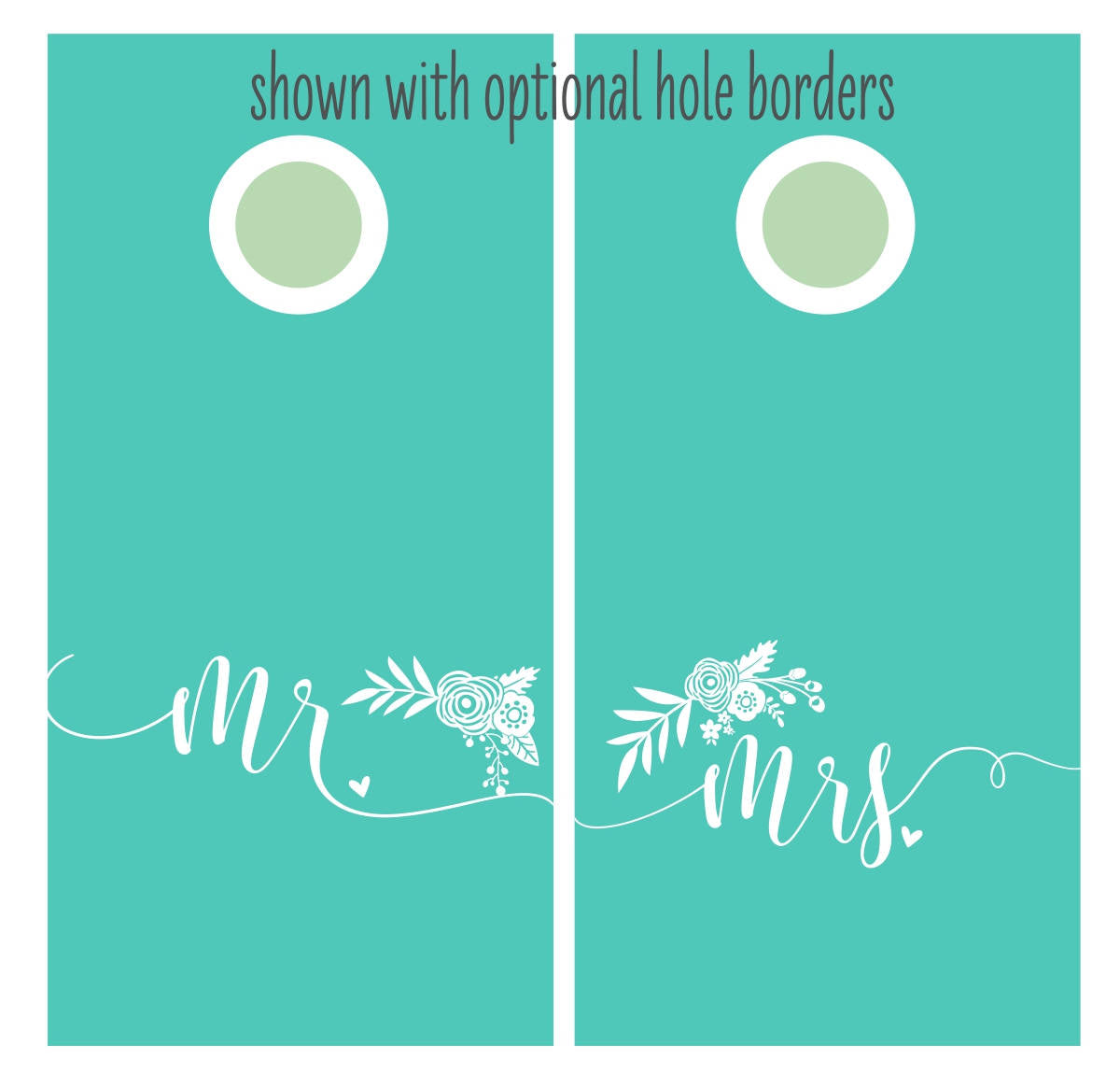 Modern Mr and Mrs Floral Cornhole Decal Set for the Rustic Outdoor Wedding