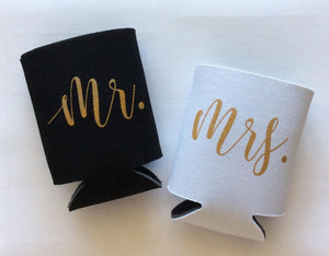 mr and mrs wedding can coolers | mr and mrs can holder wedding photo props | wedding shower gift | FREE Shipping