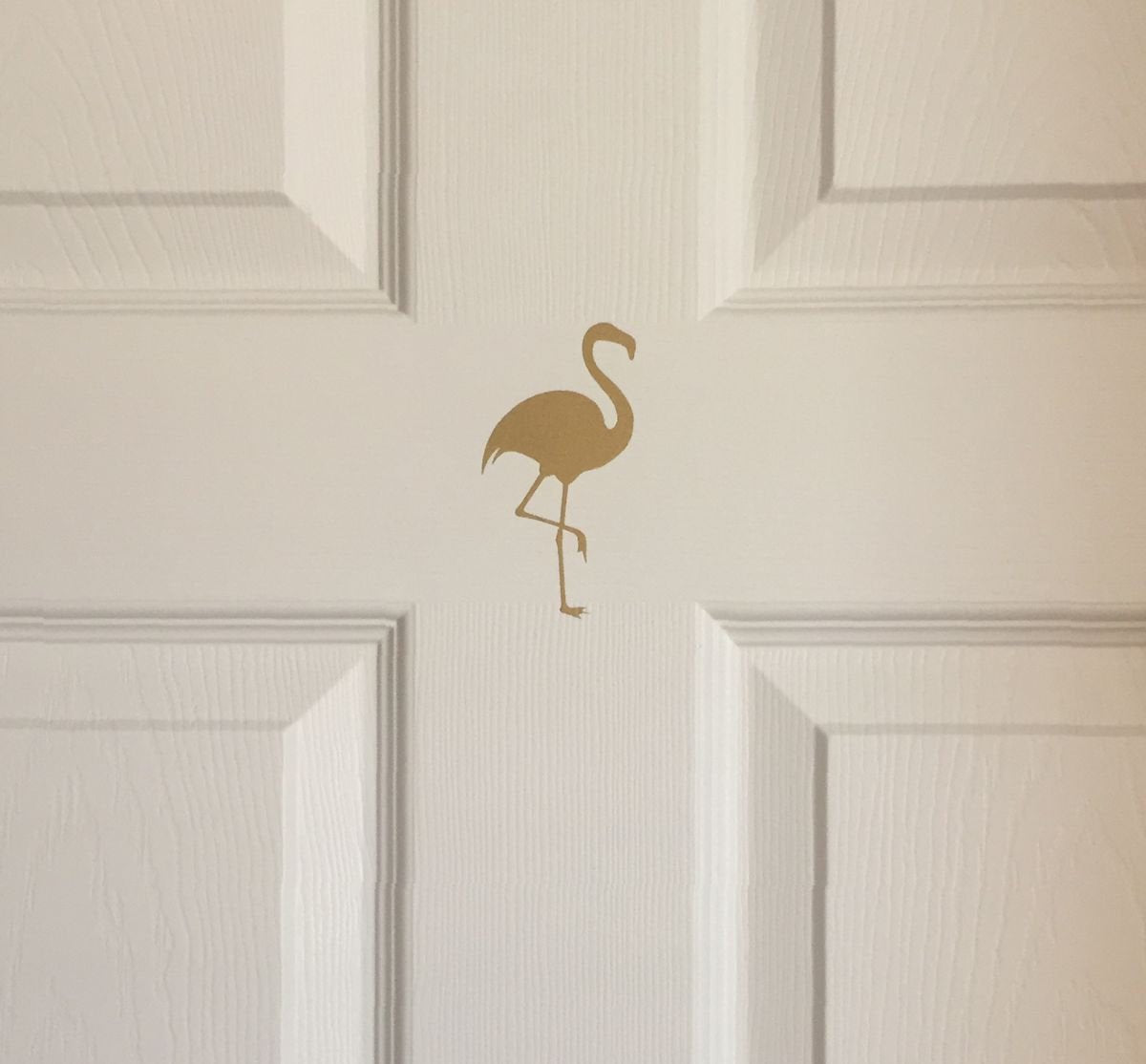 Flamingo Decor for Home | Gold Flamingo Door Decal | Set of 7 Flamingo Sticker Decals