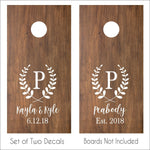 Wedding Monogram Cornhole Decals