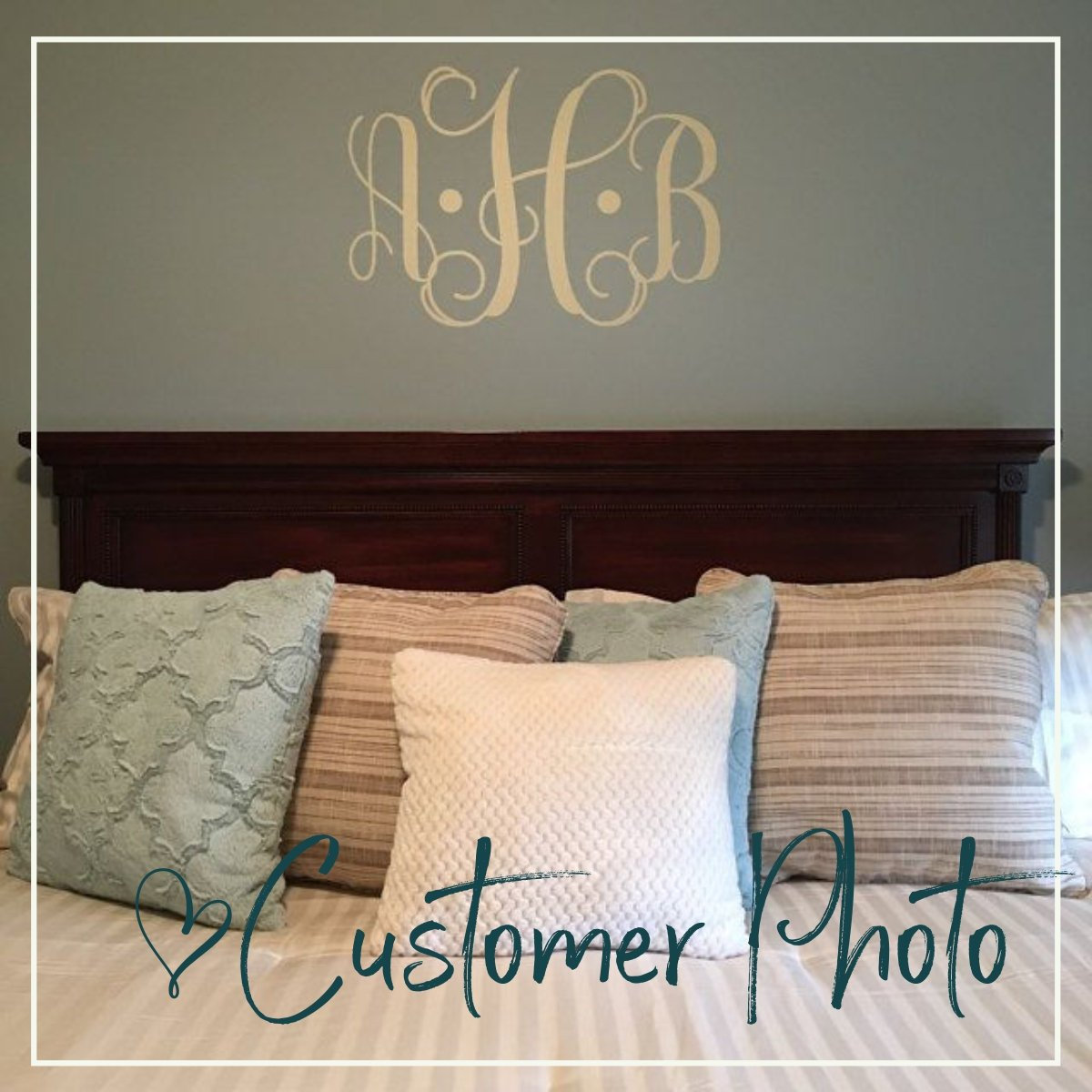 Vine Monogram Vinyl Wall Decal for the Master Bedroom Newlywed Sanctuary | Personalized Wedding Gift
