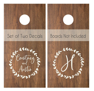 Wedding Decals | Wedding Monogram | Personalized Monogram Decals for Cornhole Boards | Rustic Wedding | Bean Bag Toss Decal