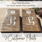 Cornhole Decals | Accent Hole Borders for Wedding Cornhole Board Game Set