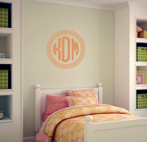 Greek Key Style Monogram Wall Decal | Nursery Decor | Dorm Room Decor