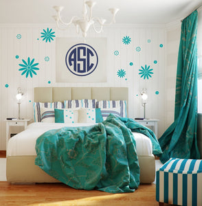 Circle Monogram Wall Decals for Girls | Dorm Room Wall Decor | Preppy Monogram Nursery Decals