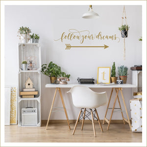follow your arrow decal | follow your heart wall decor | follow your dreams wall art | Gold Office Decor | Gold Nursery Wall Decor