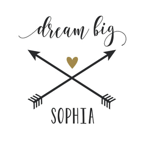Dream Big | Dream Big Little One Wall Decal | Personalized Name Decal | Girl Nursery Decor