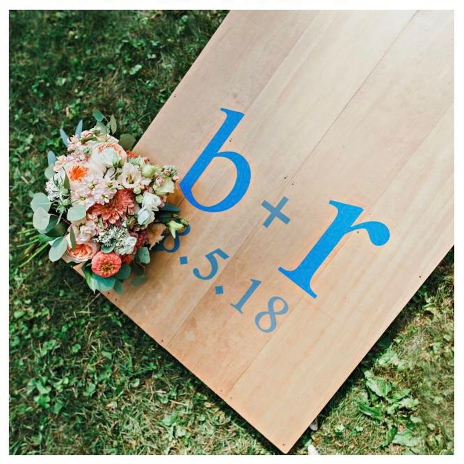 Bride & Groom Initials with Heart and Hole Borders Vinyl Decal Set for Cornhole Game Boards