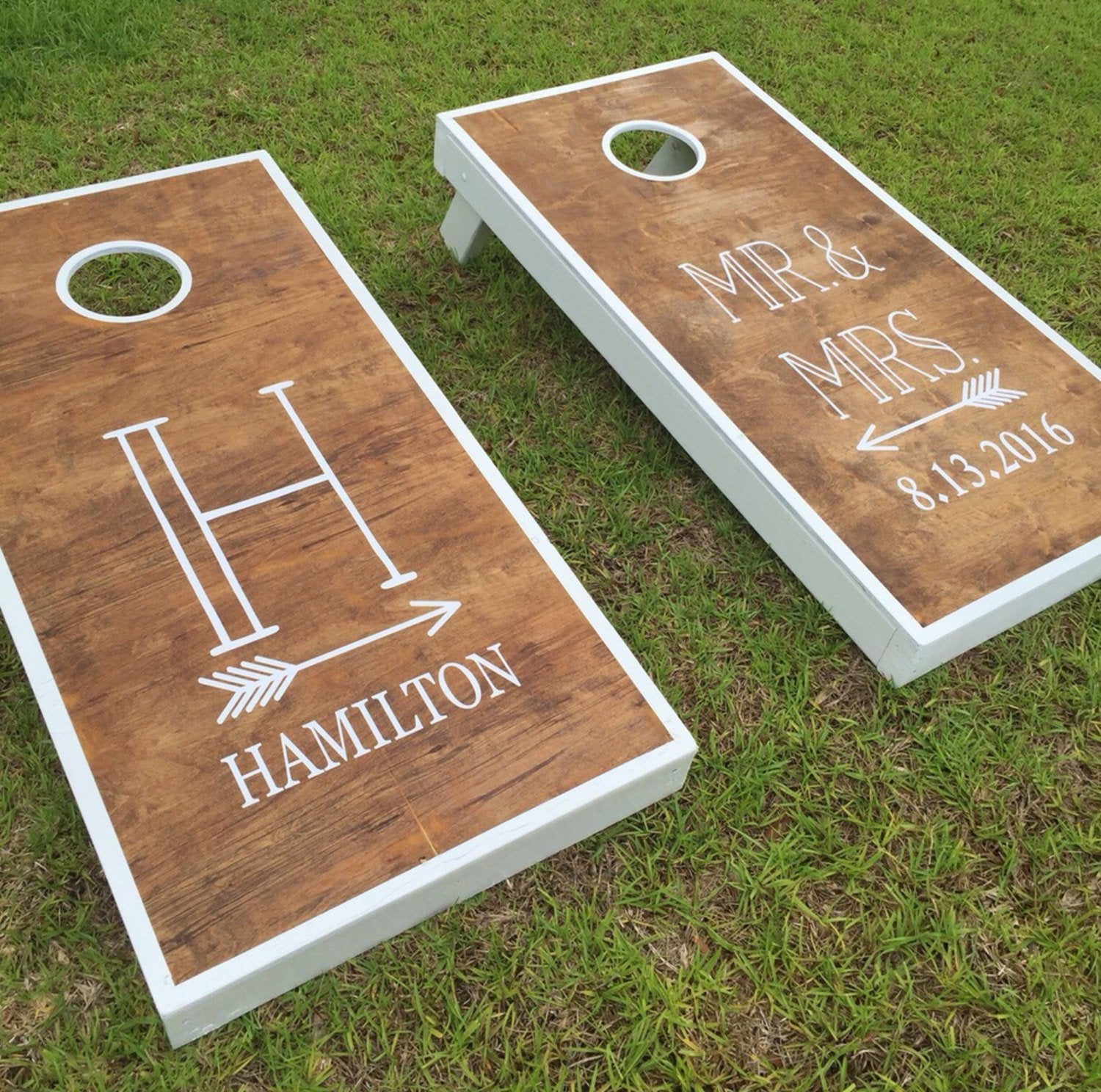Personalized Wedding Monogram Decal Set with Arrows | Vinyl Decals for Cornhole Game Boards
