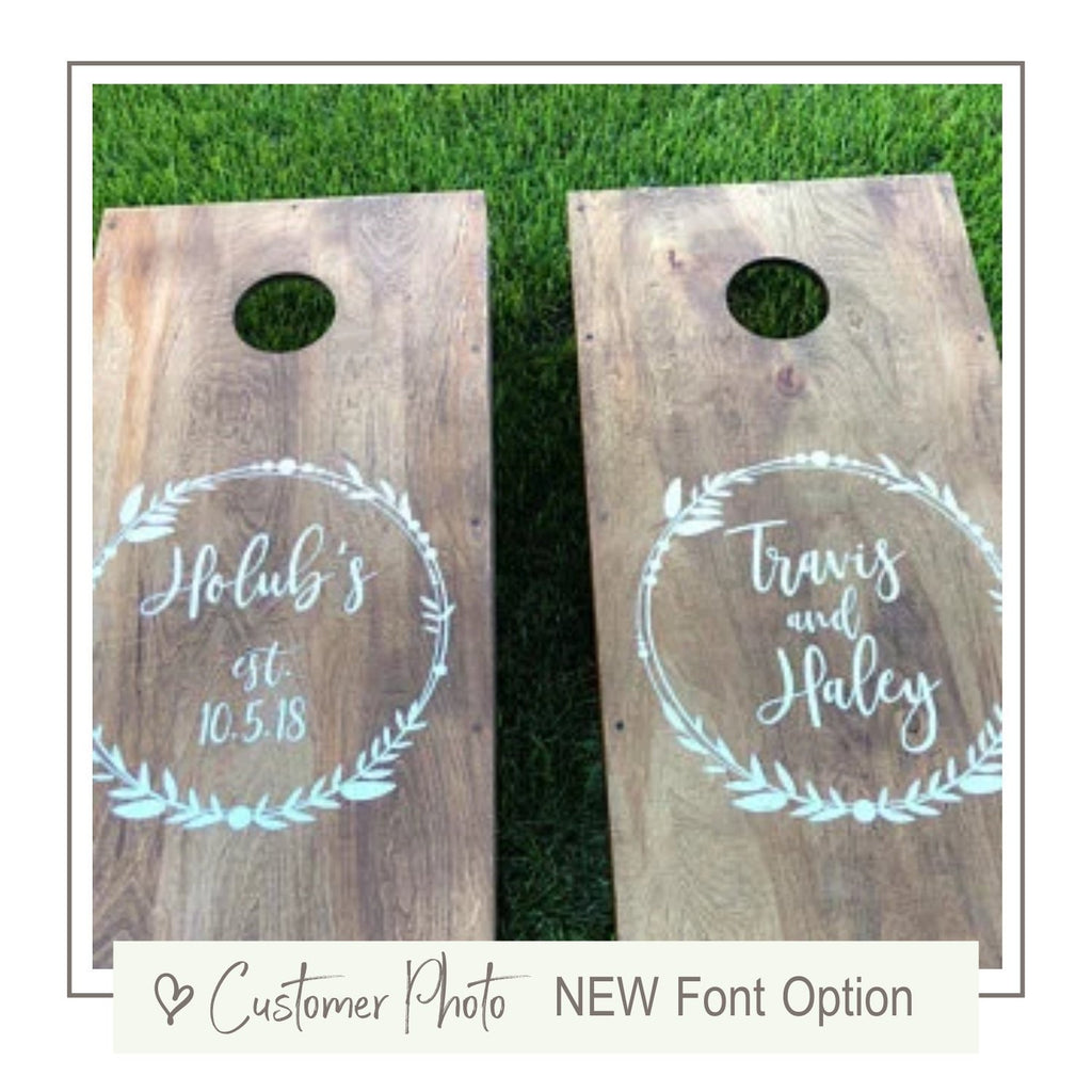 Wedding Cornhole Decals | Rustic Wedding Decor | Personalized Wedding Wreath | Decals for Corn hole Game