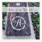 Personalized Wedding Monogram Decal Set for Cornhole Game Boards