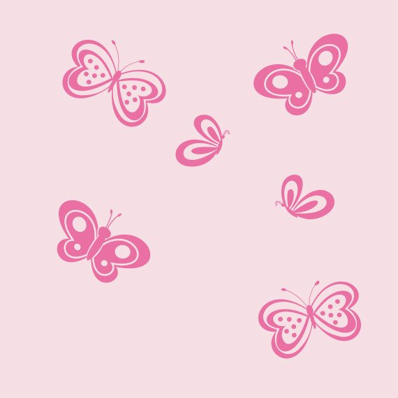 Butterfly Wall Decals Set of Six | Baby Girl Nursery | Girls Bedroom Decor