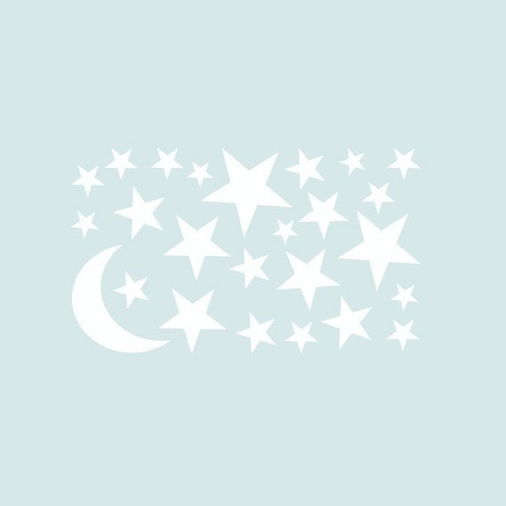 Moon & Stars Wall Decal Package for Nursery | Boys Room